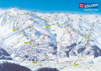 Skigebiet Sölden Karte, Gondelbahnen, Lifte